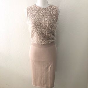 Andrew Marc Champagne Sleeveless Dress Size S